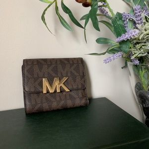Michael Kors Logo Print Leather Tri-Fold Wallet